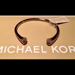 Michael Kors Gold-Tone Pave Crystal Heart Cuff